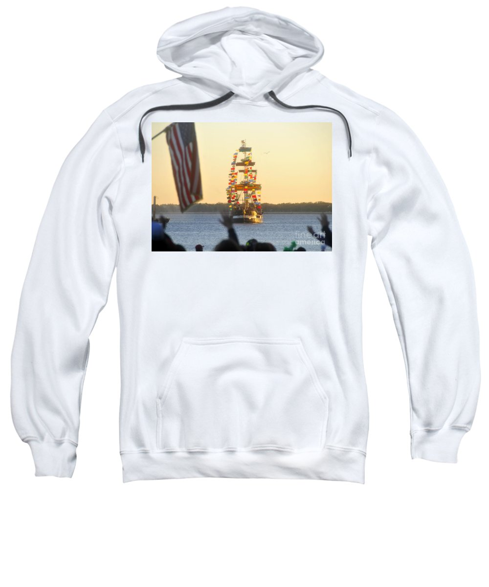 Gasparilla Children's Parade Sweatshirt featuring the photograph Pirate's Arrival by David Lee Thompson