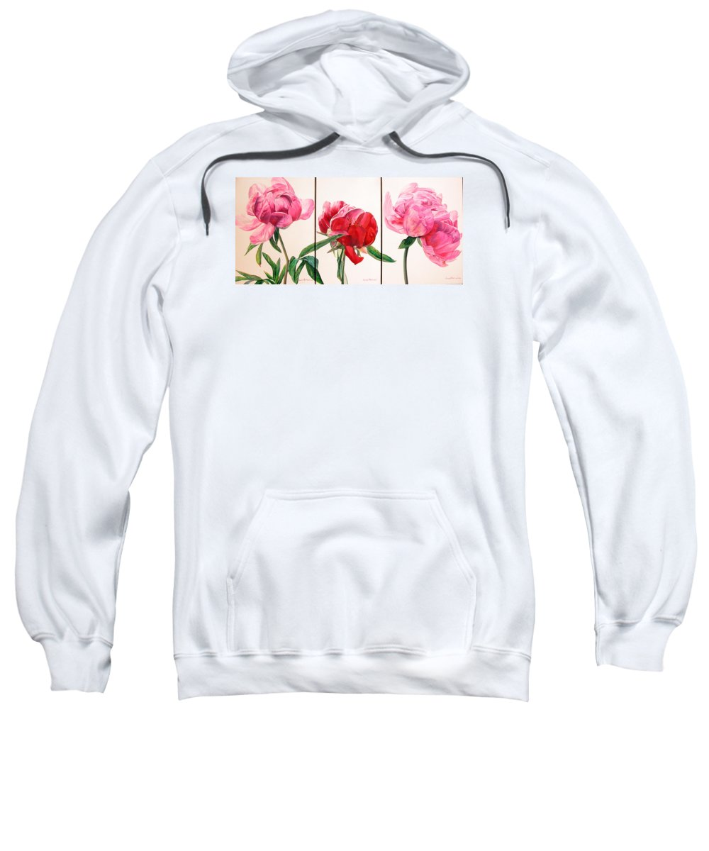 Floral Painting Sweatshirt featuring the painting Pivoines by Muriel Dolemieux