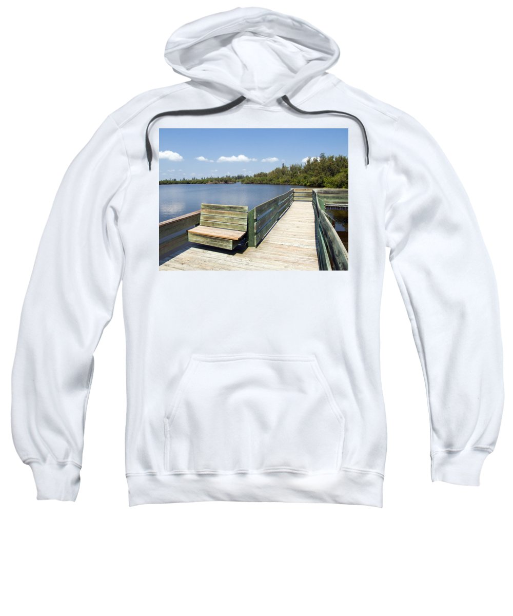 Kayak; Canoe; Florida; Round; Island; St; Saint; Lucie; County; Vero; Beach; Indian. River; Estuary; Sweatshirt featuring the photograph Place For Fishing Or Just Sitting At Round Island In Florida by Allan Hughes