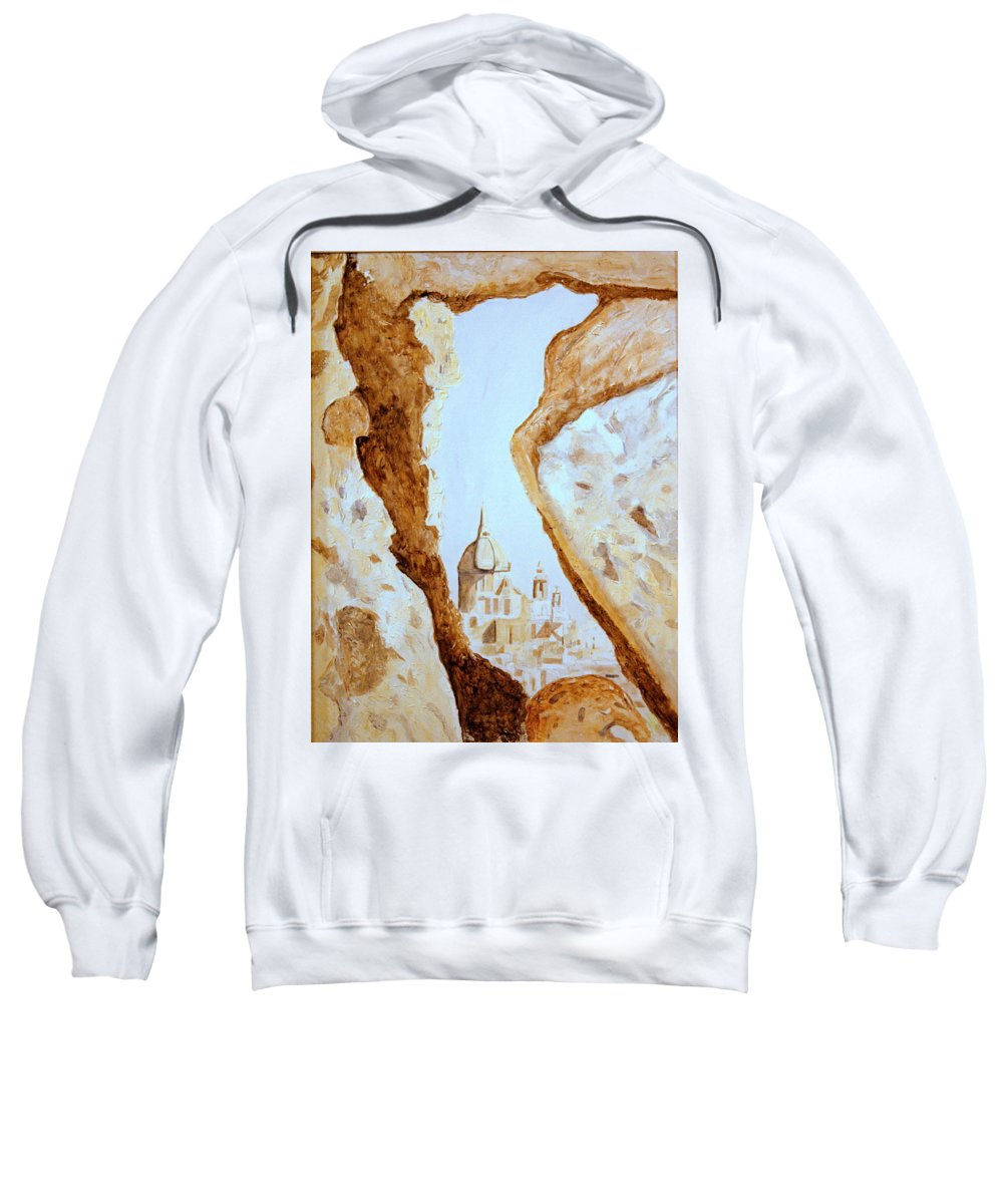 Gozo Sweatshirt featuring the painting Places Of Worship by Shirley Wilberforce