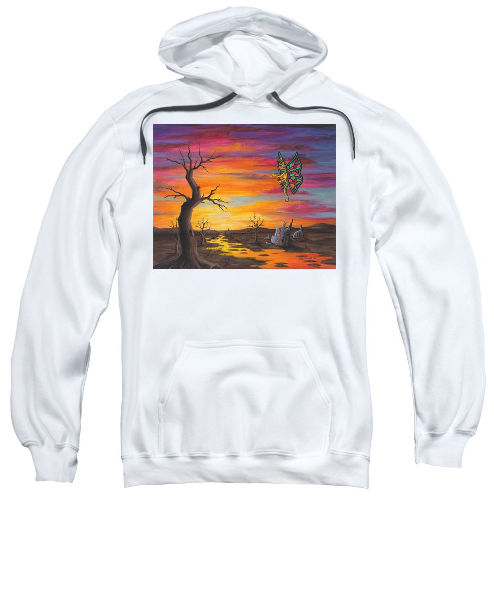 Fantasy Sweatshirt featuring the painting Planet PX7 by Roz Eve