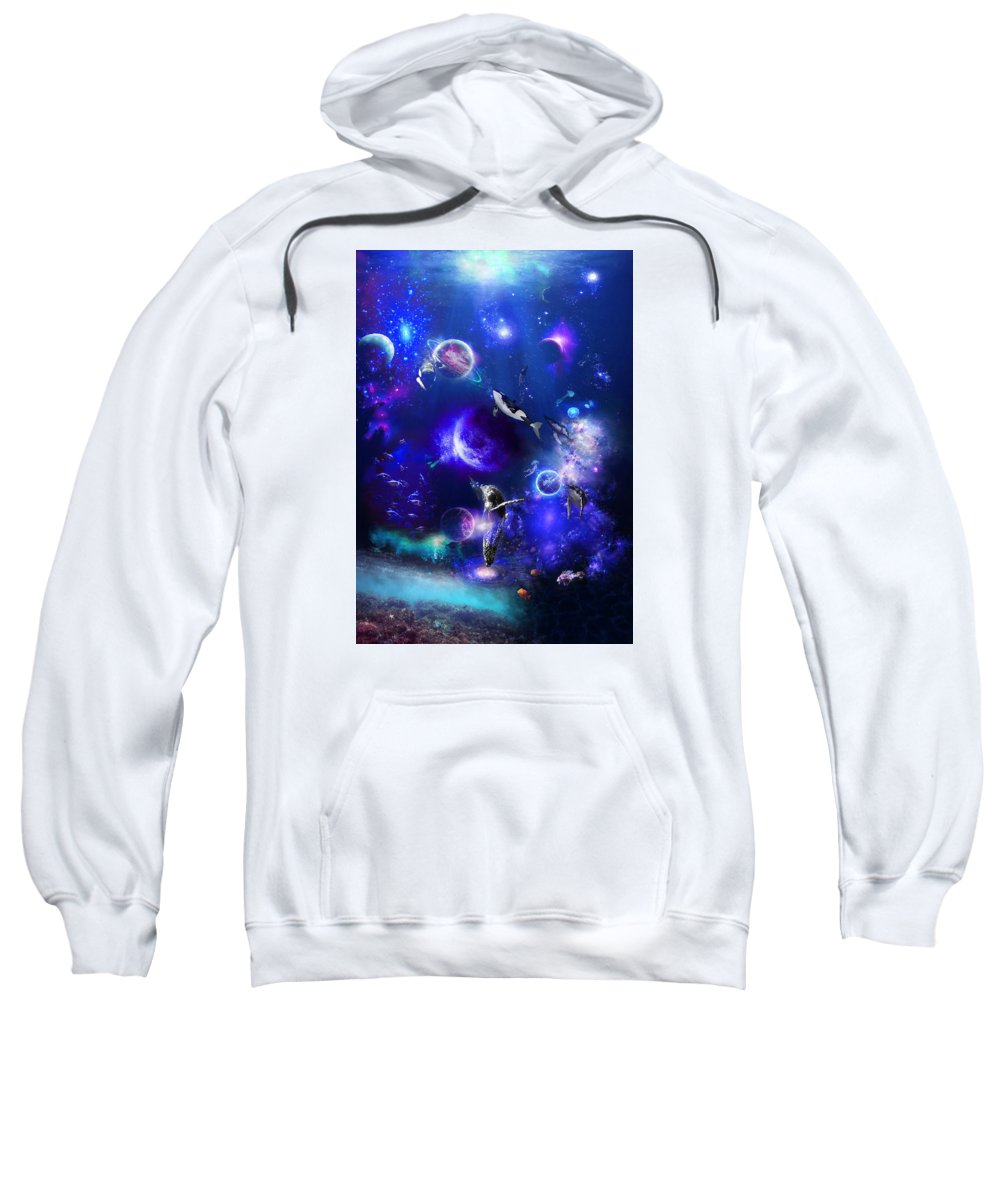 Ocean Sweatshirt featuring the digital art Planetary Sea by Hector Cabrera