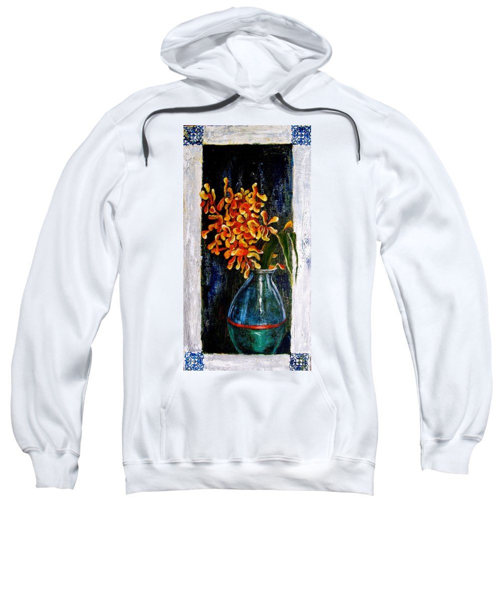 Beautiful Art Sweatshirt featuring the painting Plant by Laura Pierre-Louis