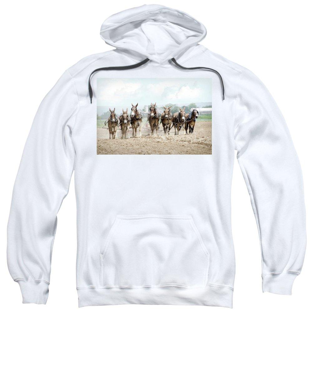 Farm Sweatshirt featuring the photograph Plowing The Fields by Eleanor Bortnick
