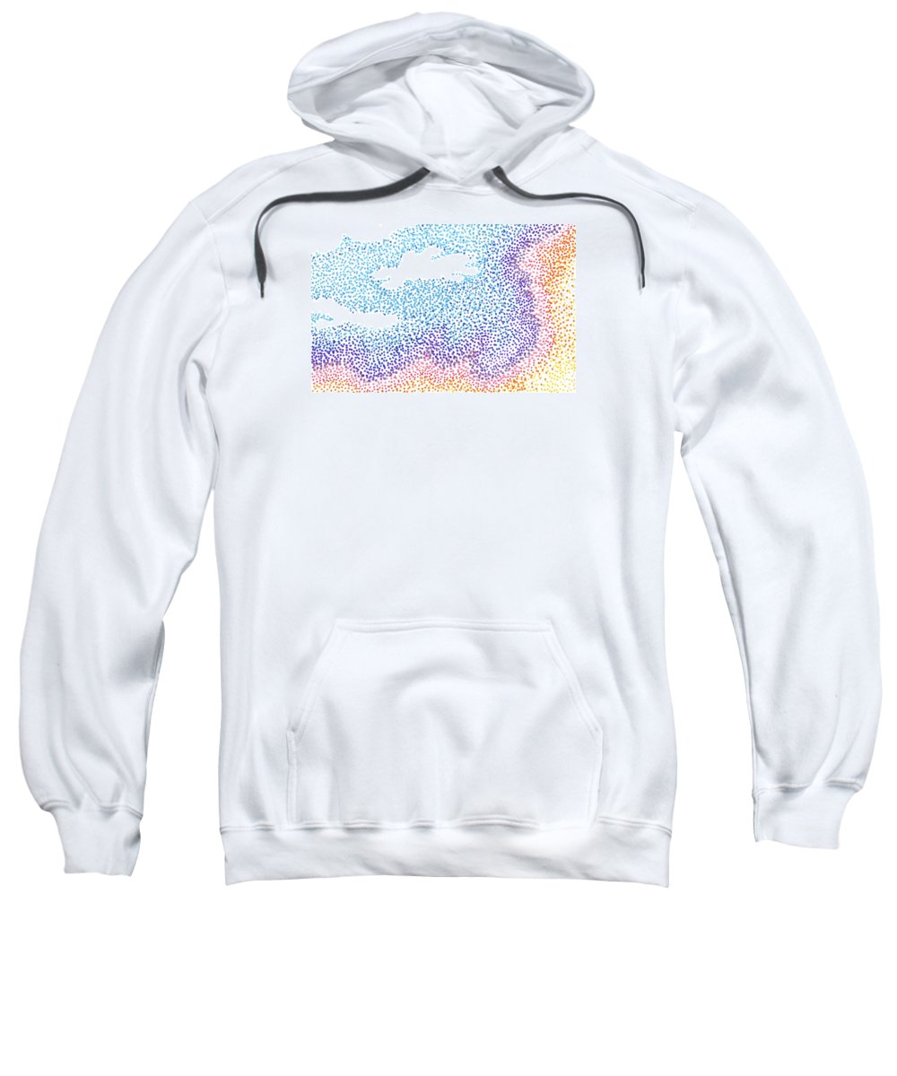 Sunset Sweatshirt featuring the painting Pointilism Sunset by Cassandra Geernaert