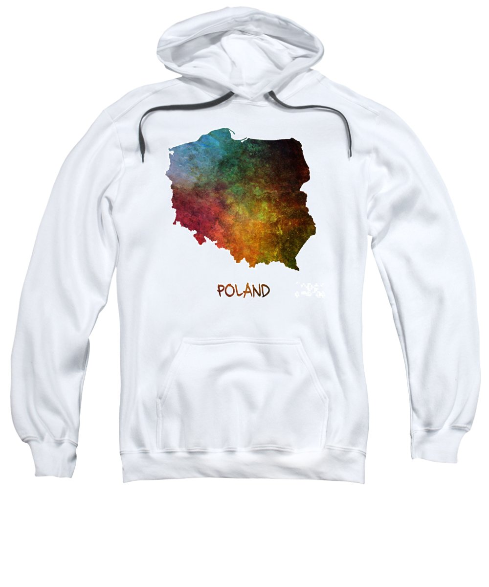 Poland Sweatshirt featuring the painting Poland Map Polska Map by Justyna JBJart