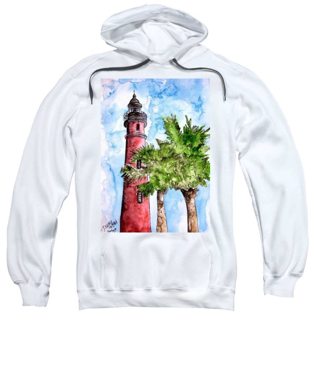 Ponce De Leon Sweatshirt featuring the painting Ponce De Leon Inlet Florida Lighthouse Art by Derek Mccrea