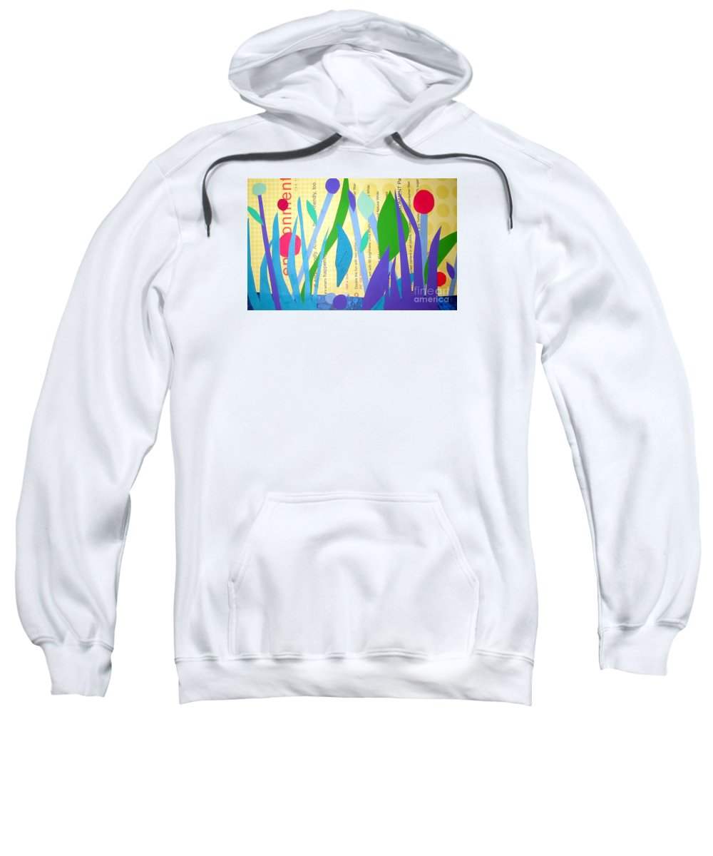 Landscape Sweatshirt featuring the mixed media Pond Life by Debra Bretton Robinson