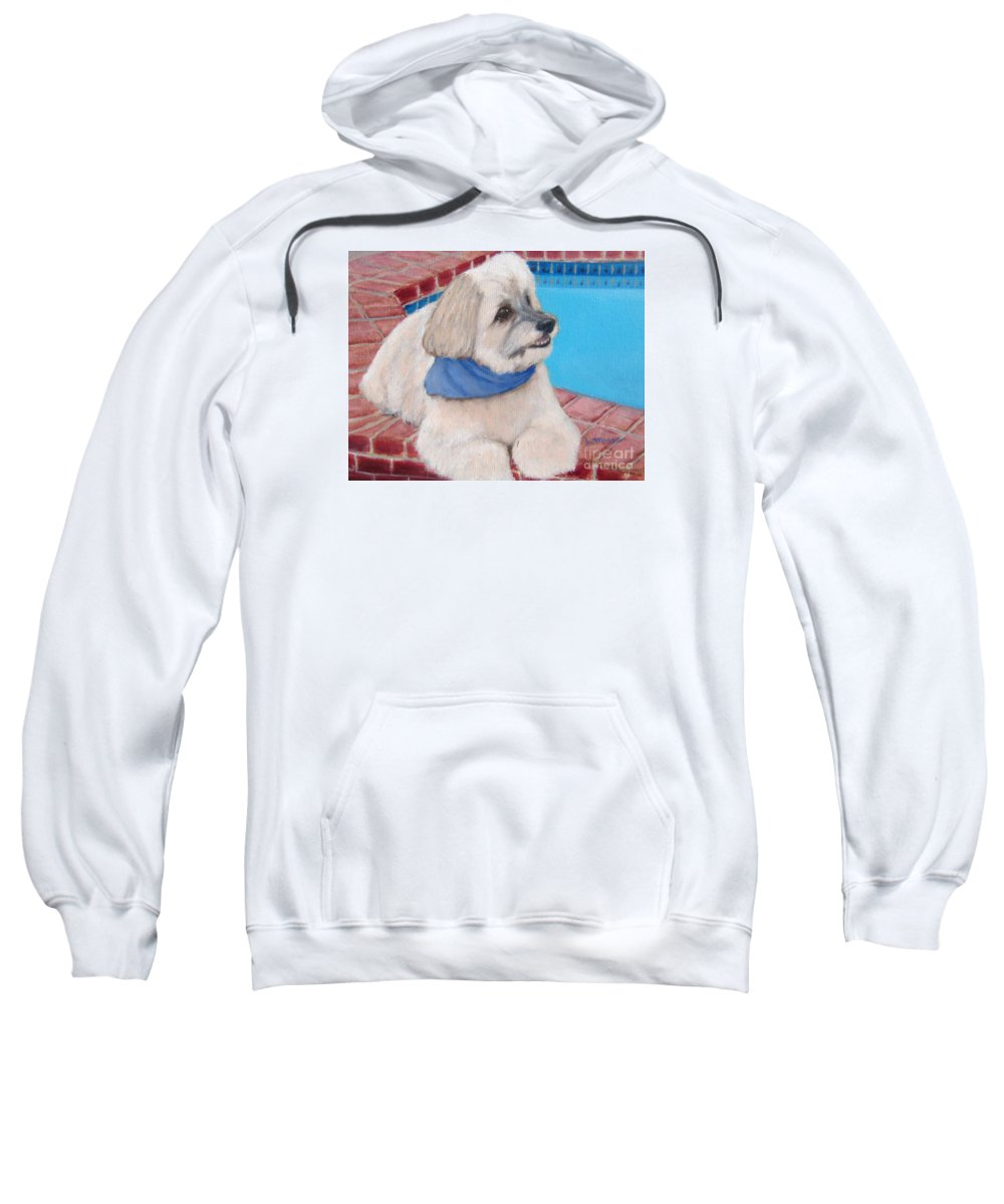 Dogs Sweatshirt featuring the painting Poolside Puppy by Laurie Morgan