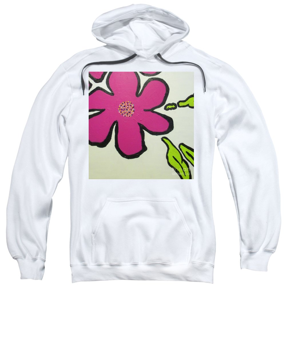 Flower Sweatshirt featuring the painting Pop Art Pansy by Maria Bonnier-Perez