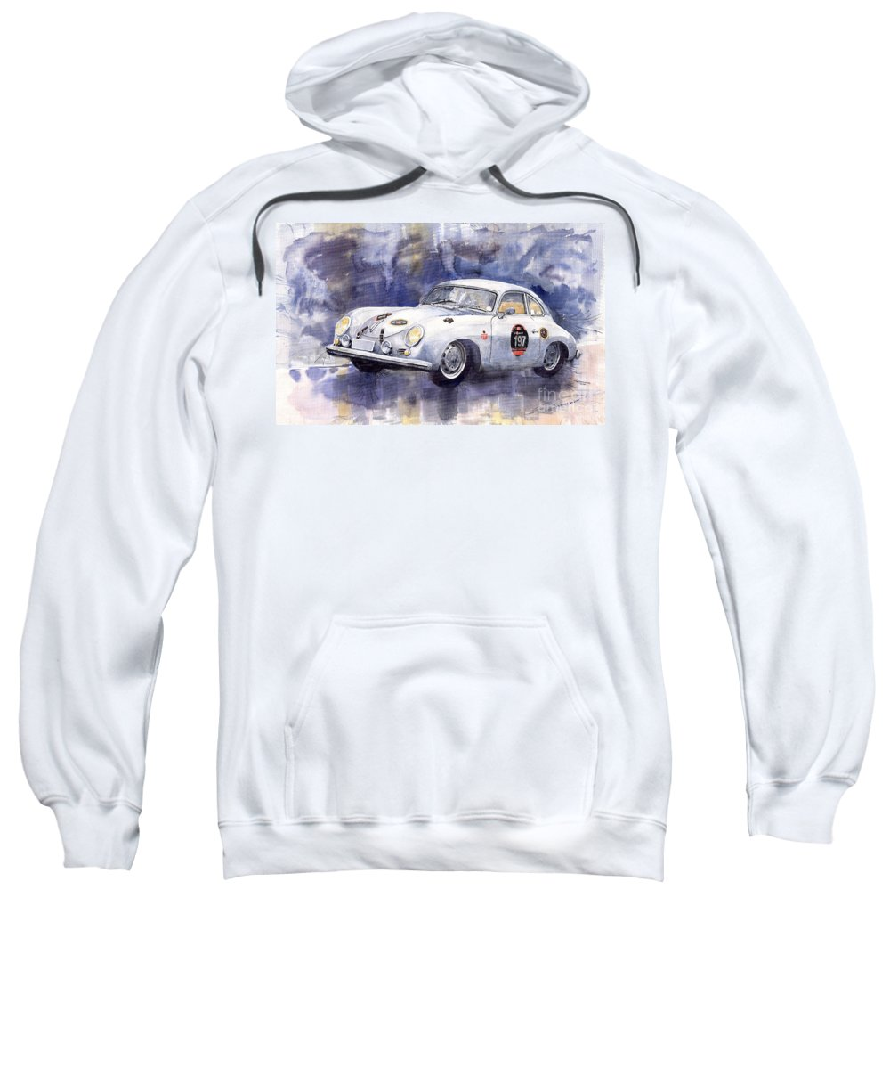 Watercolour Sweatshirt featuring the painting Porsche 356 Coupe by Yuriy Shevchuk