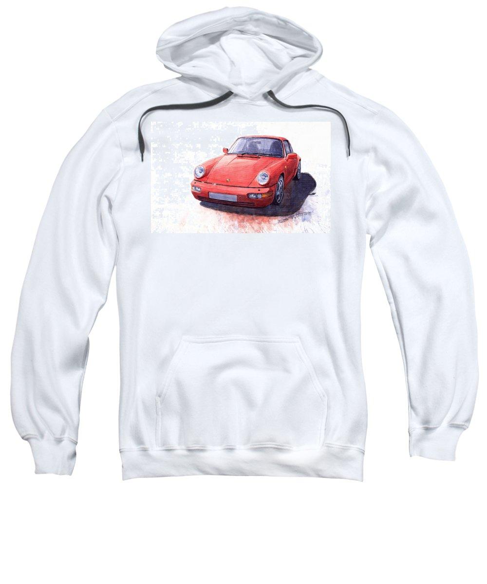 Auto Sweatshirt featuring the painting Porsche 911 Carrera 2 1990 by Yuriy Shevchuk
