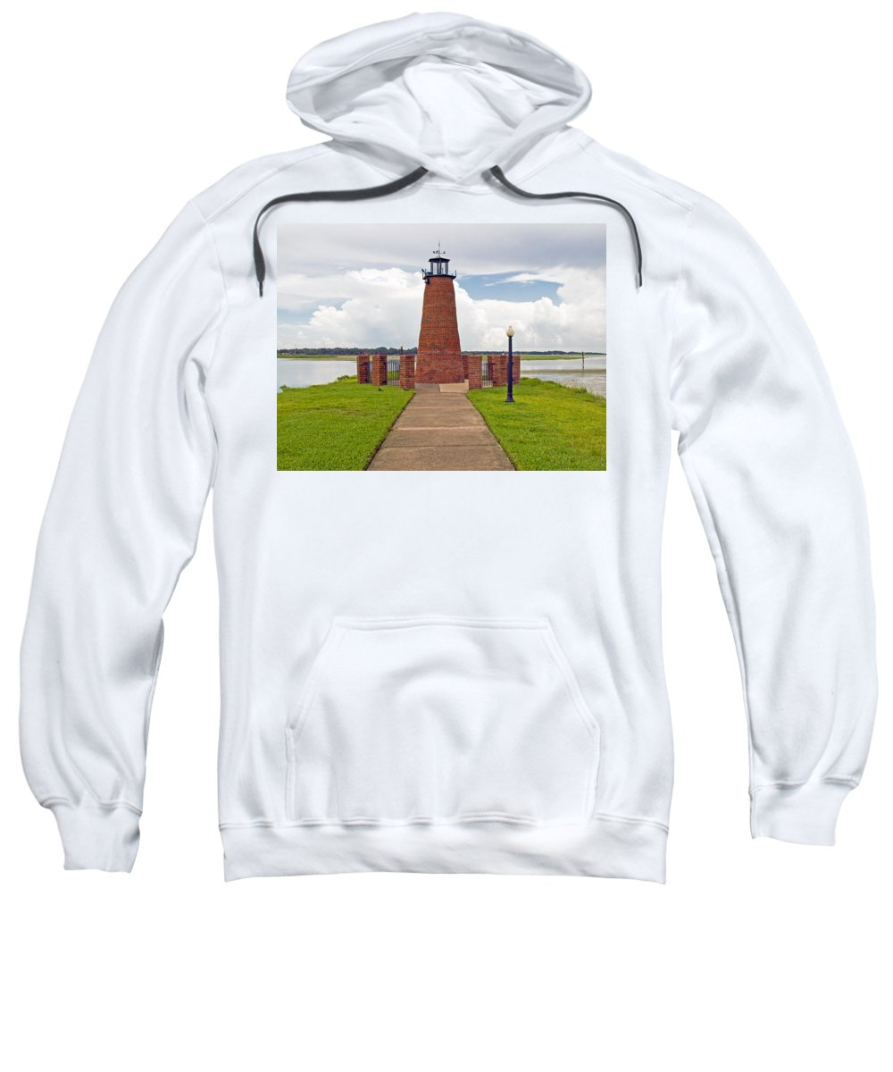 Florida; Kissimmee; Toho; Tohopekaliga; Port; Light; Lighthouse; House; Beacon; Brick; Central; Harb Sweatshirt featuring the photograph Port Of Kissimmee Lighthouse In Central Florida by Allan Hughes
