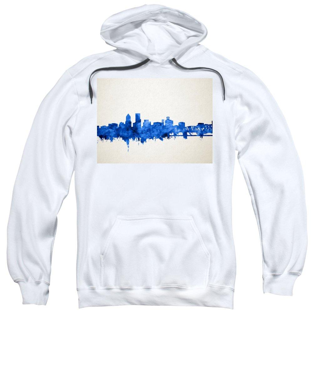 Portland Sweatshirt featuring the painting Portland Skyline Watercolor 4 by Bekim M