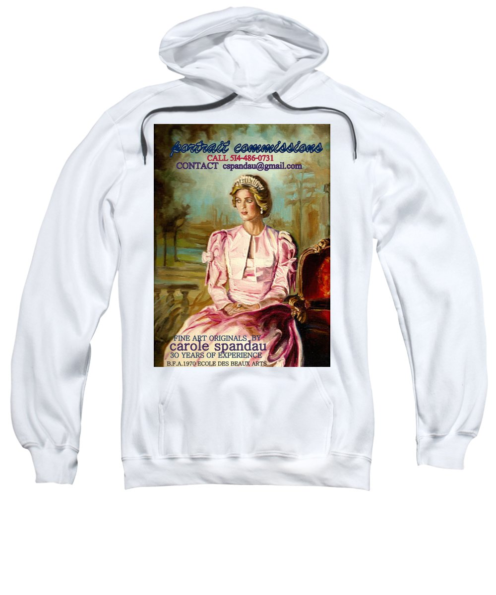 Commissioned Art Sweatshirt featuring the painting Portrait Commissions By Portrait Artist Carole Spandau by Carole Spandau