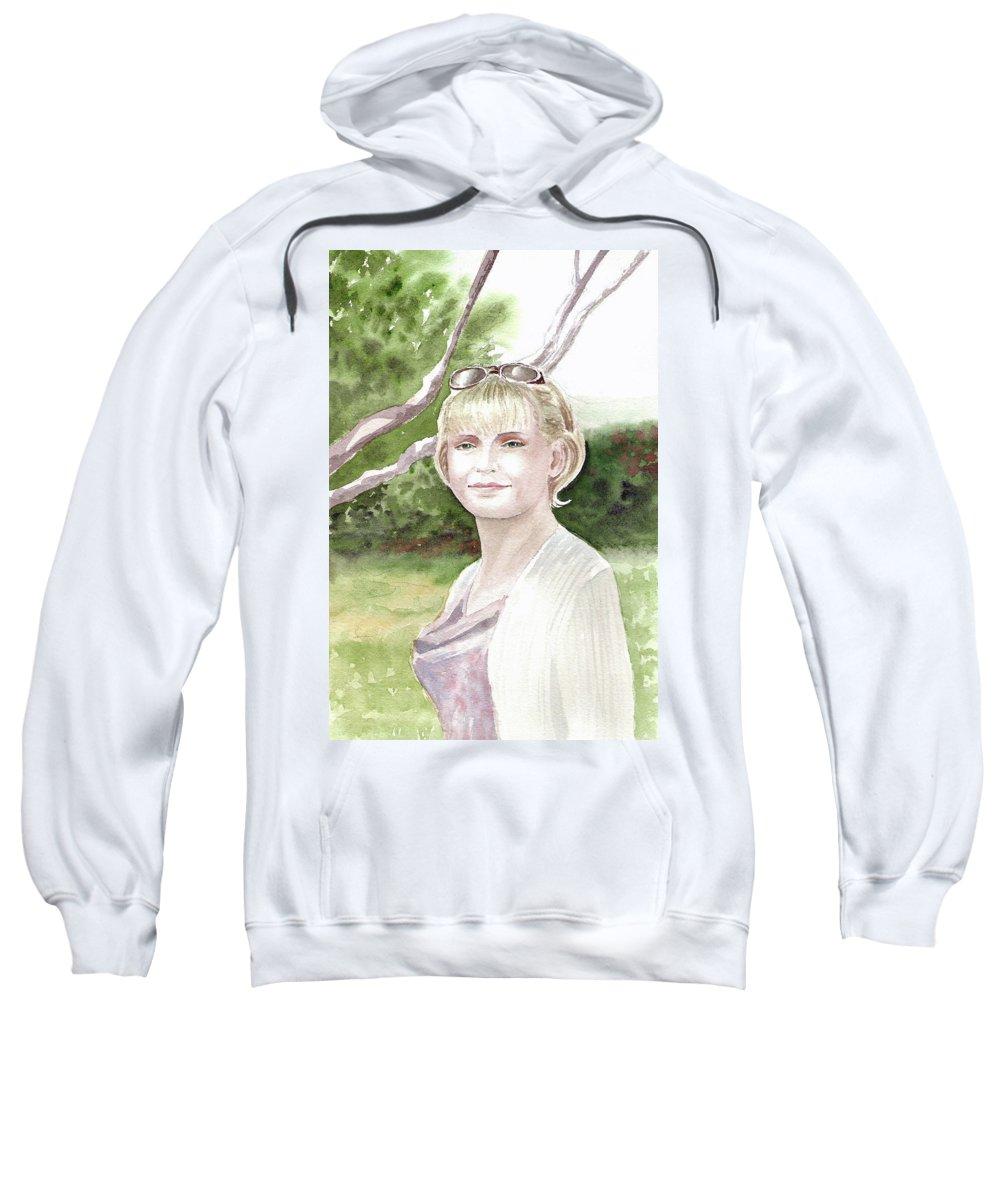 Portrait Sweatshirt featuring the painting Portrait by Irina Sztukowski