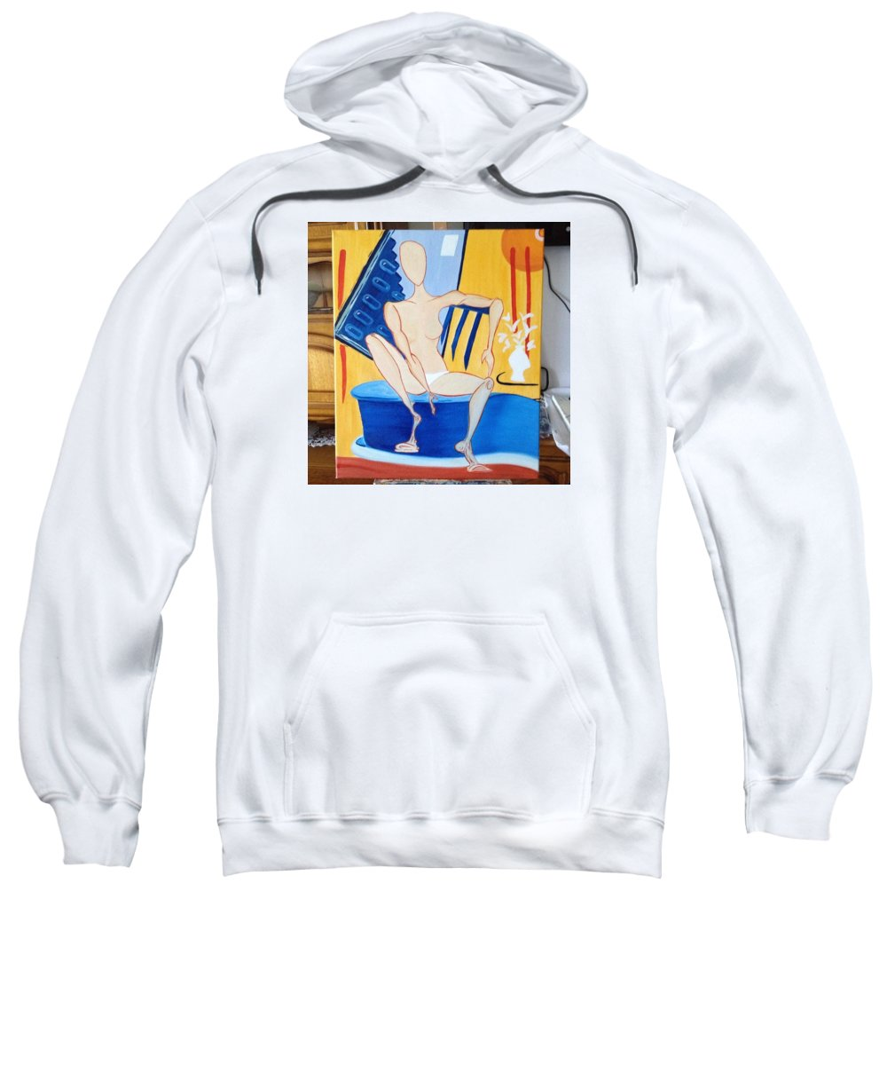 Sitting Nude Woman Modern Vase Flowers Oil Sweatshirt featuring the painting Post-coital by Costin Tudor