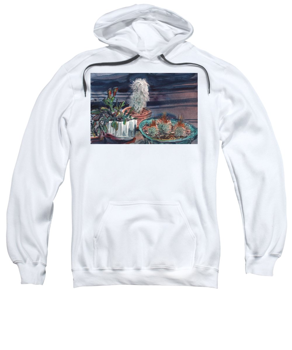 Cactus Sweatshirt featuring the painting Potted Cactus by Donald Maier