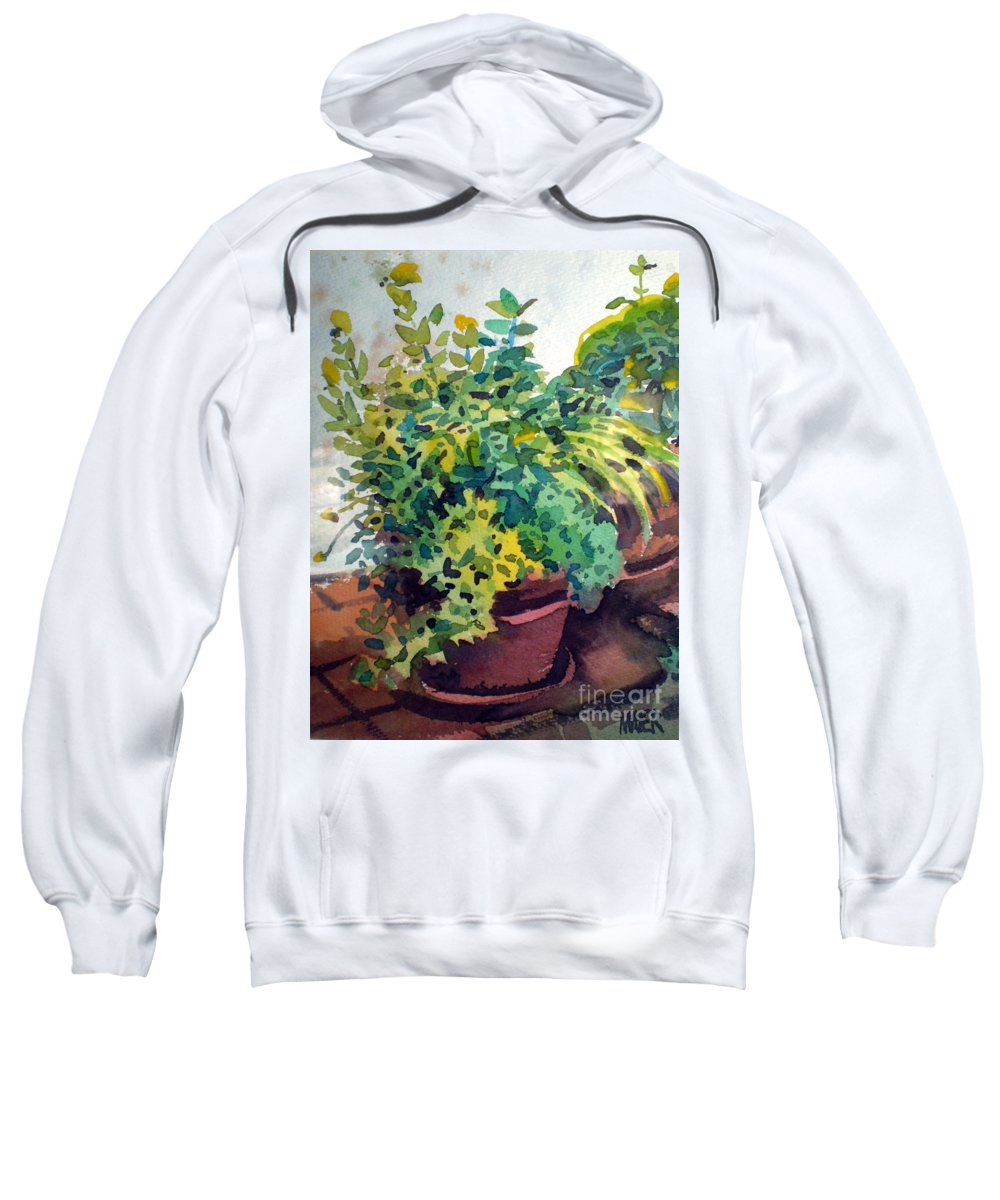 Herbs Sweatshirt featuring the painting Potted Herbs by Donald Maier