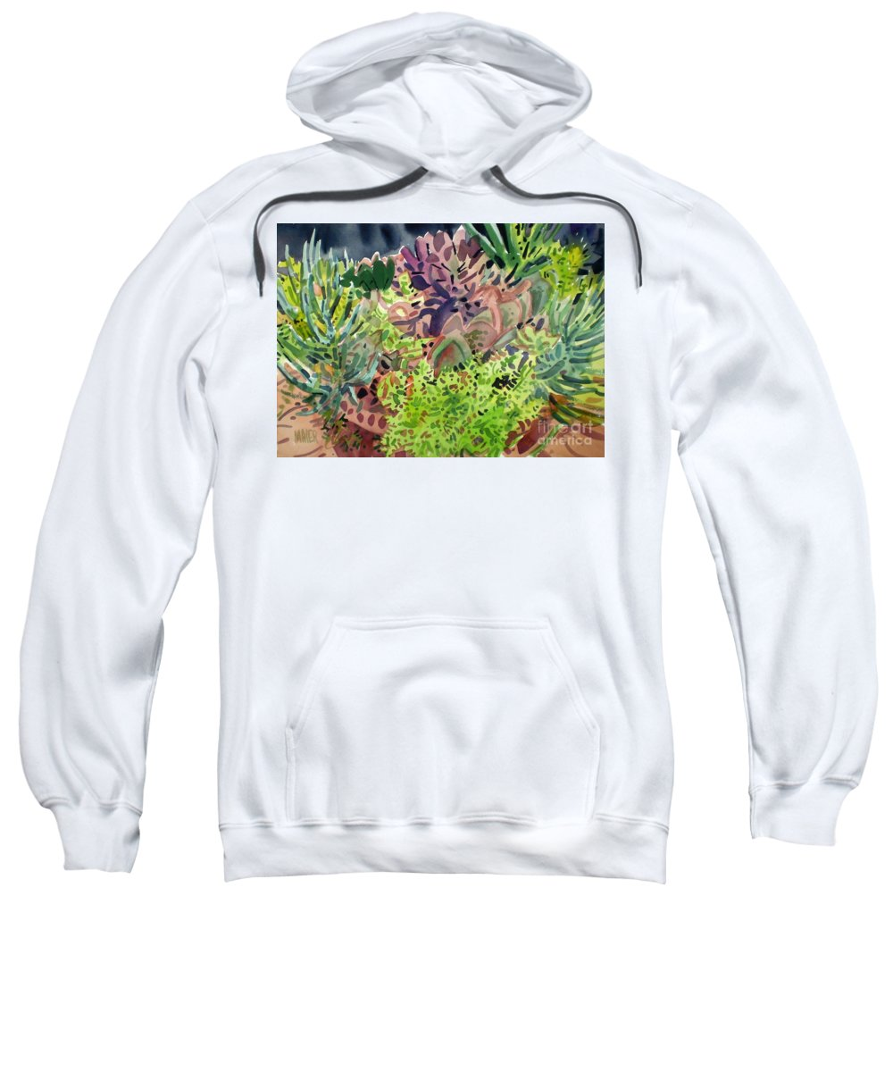 Succulents Sweatshirt featuring the painting Potted Succulents by Donald Maier