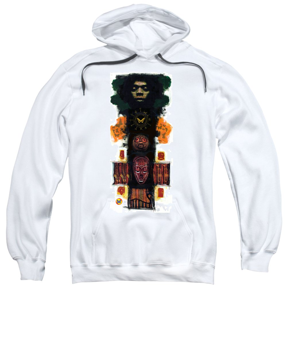 Fela Kuti Sweatshirt featuring the painting Power Show by Vernell Garrett