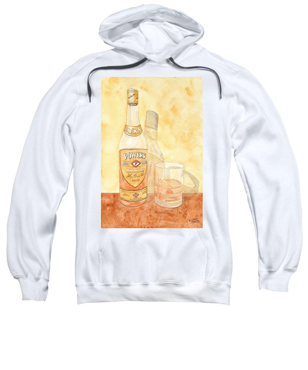 Irish Sweatshirt featuring the painting Powers Irish Whiskey by Ken Powers