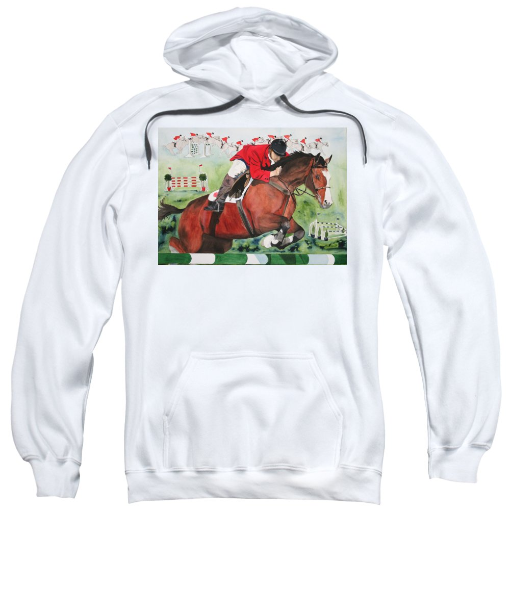 Horse Sweatshirt featuring the painting Practice Makes Perfect by Jean Blackmer