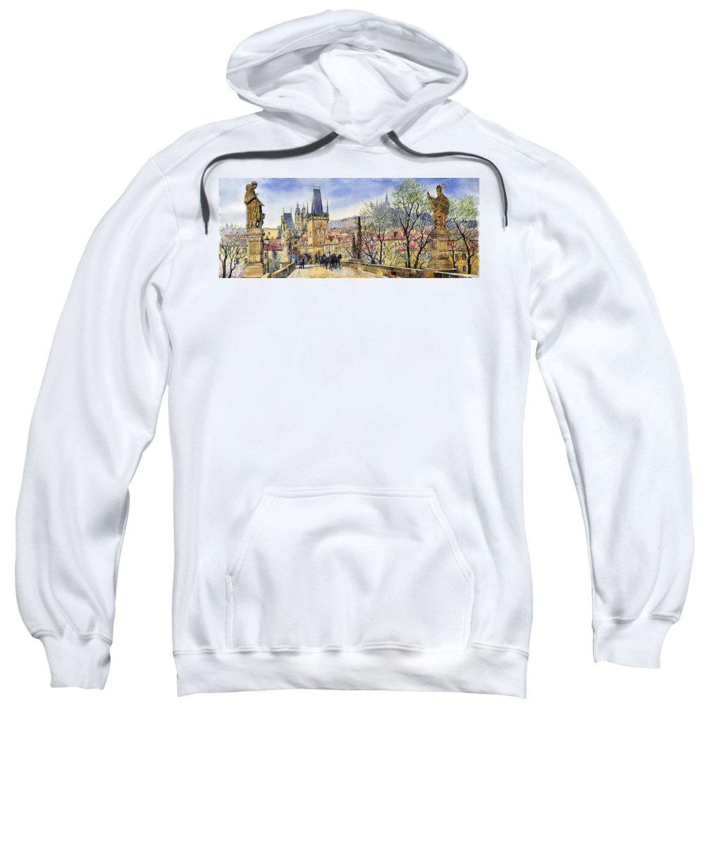 Watercolour Sweatshirt featuring the painting Prague Charles Bridge Spring by Yuriy Shevchuk