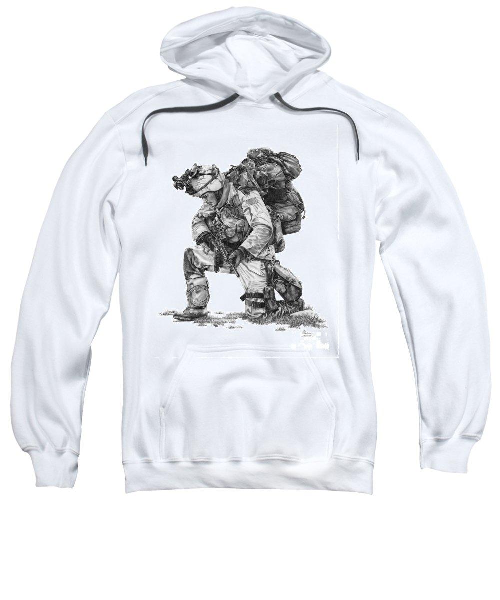Pencil Sweatshirt featuring the drawing Praying Soldier by Murphy Elliott