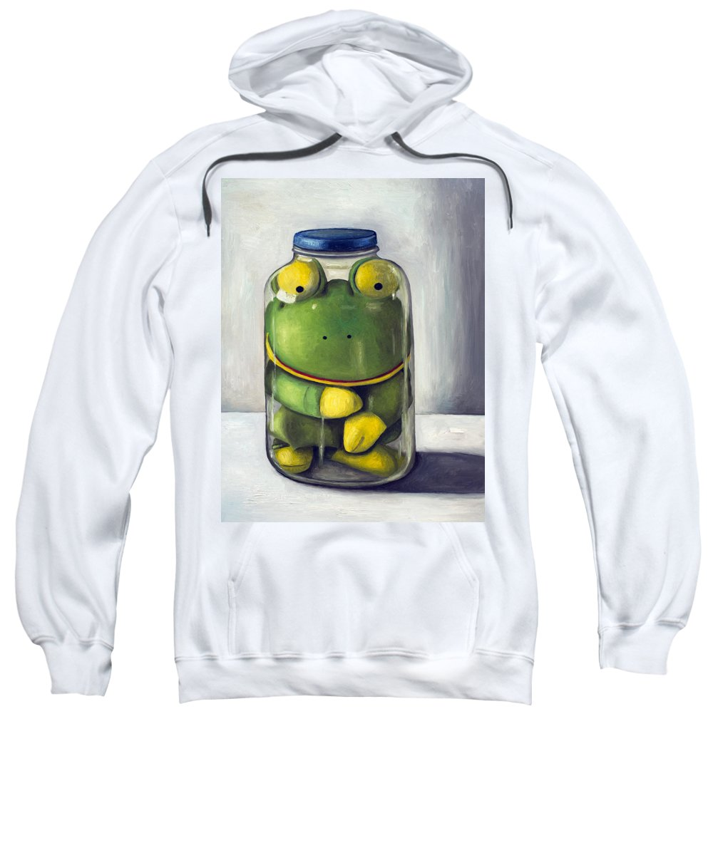 Frog Sweatshirt featuring the painting Preserving Childhood Upclose by Leah Saulnier The Painting Maniac