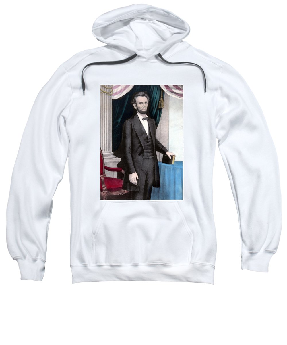 Abraham Lincoln Sweatshirt featuring the painting President Abraham Lincoln In Color by War Is Hell Store
