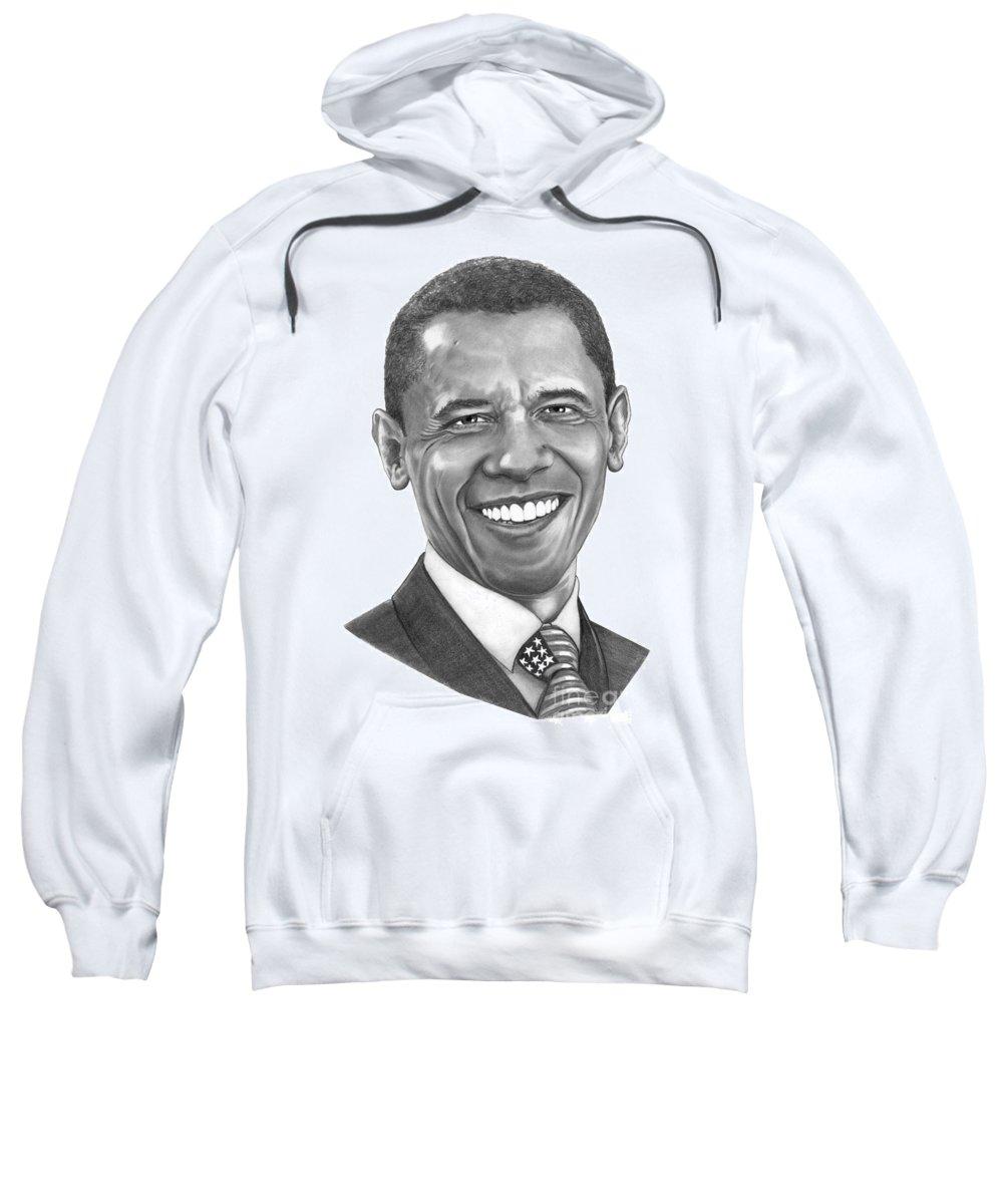 Drawing Sweatshirt featuring the drawing President Barack Obama By Murphy Art. Elliott by Murphy Elliott