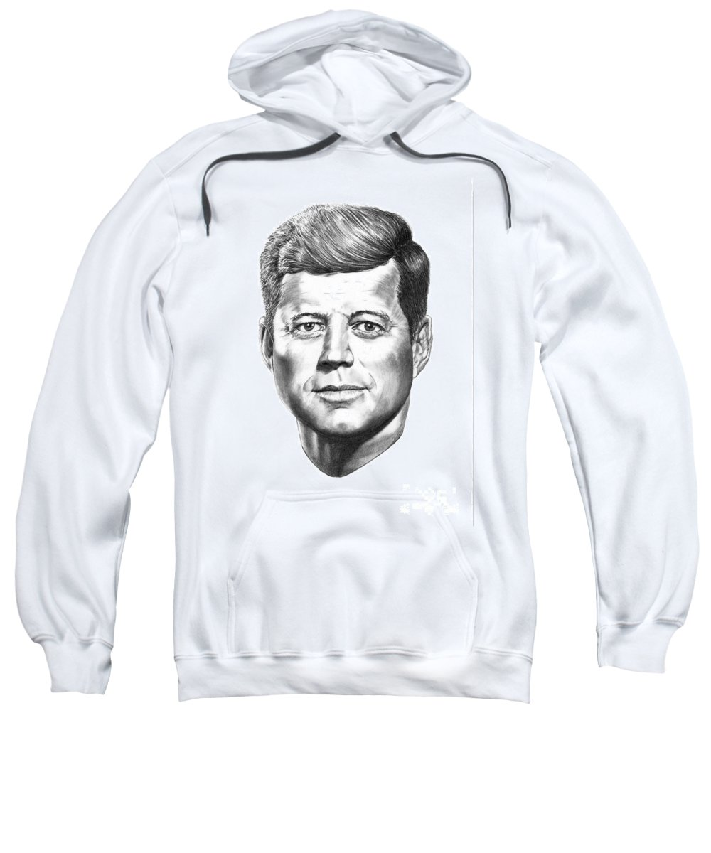 President John Kennedy Sweatshirt featuring the drawing President John F. Kennedy by Murphy Elliott