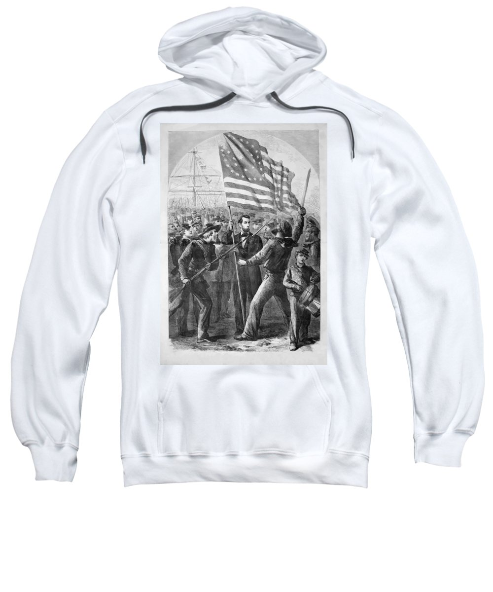 Abraham Lincoln Sweatshirt featuring the painting President Lincoln Holding The American Flag by War Is Hell Store