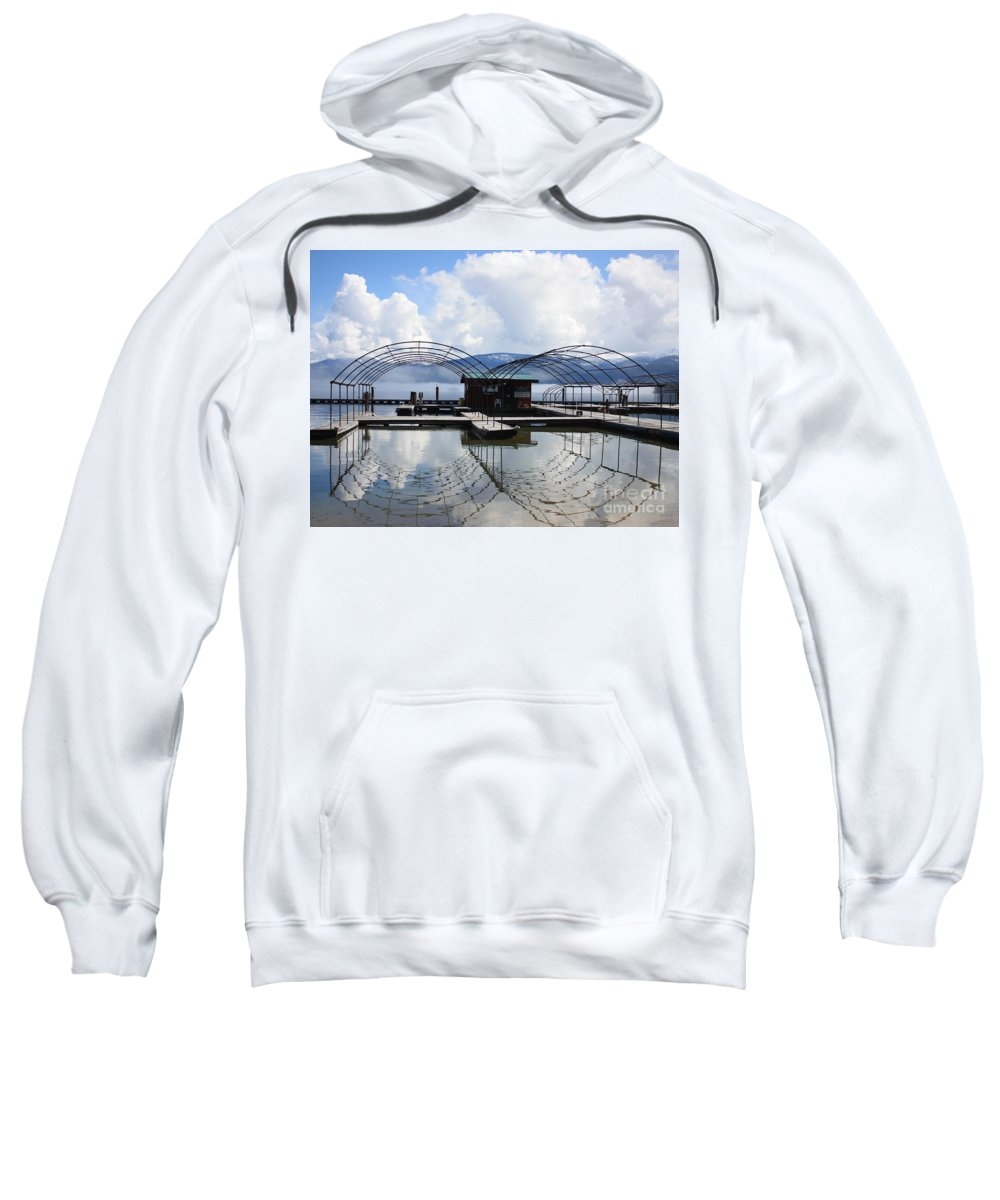 Priest Lake Sweatshirt featuring the photograph Priest Lake Boat Dock Reflection by Carol Groenen