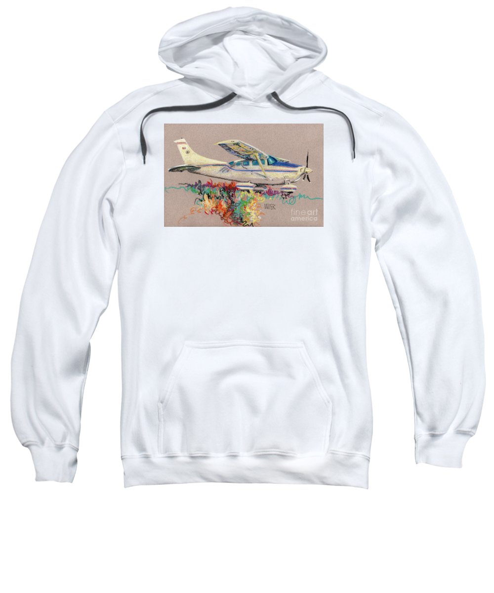 Small Plane Sweatshirt featuring the drawing Private Plane by Donald Maier