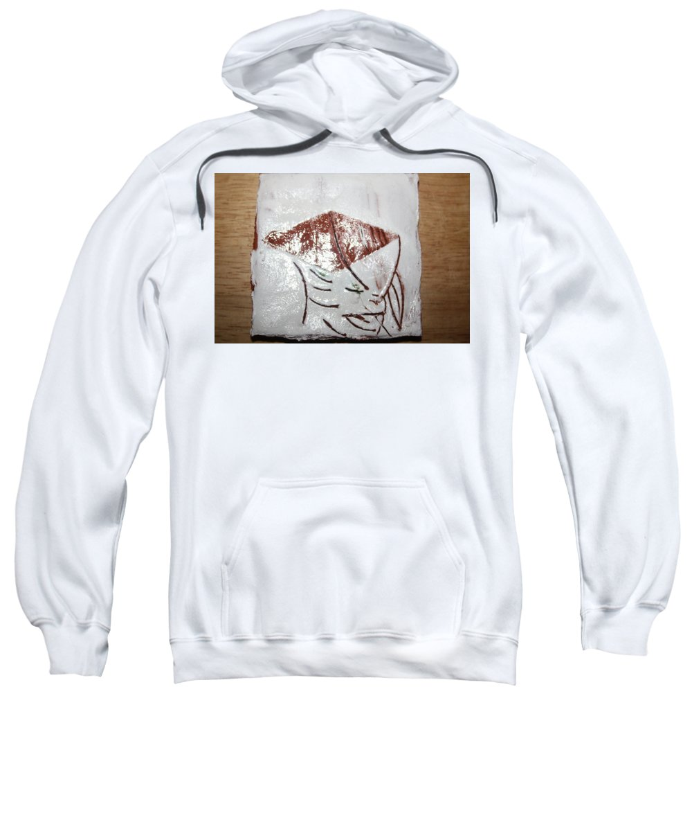 Jesus Sweatshirt featuring the ceramic art Prof - Tile by Gloria Ssali