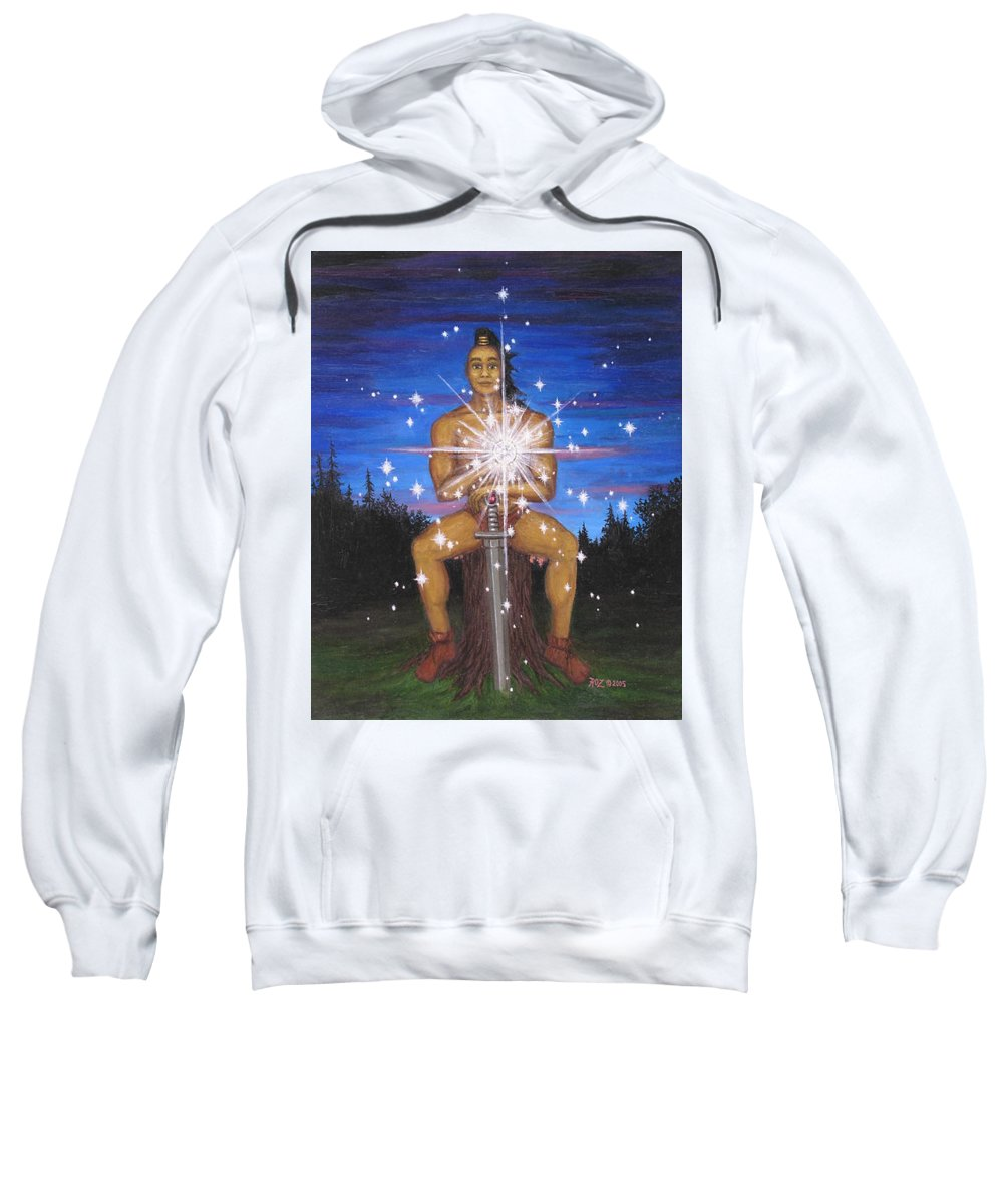 Fantasy Sweatshirt featuring the painting Protector Of The Mystical Forest by Roz Eve