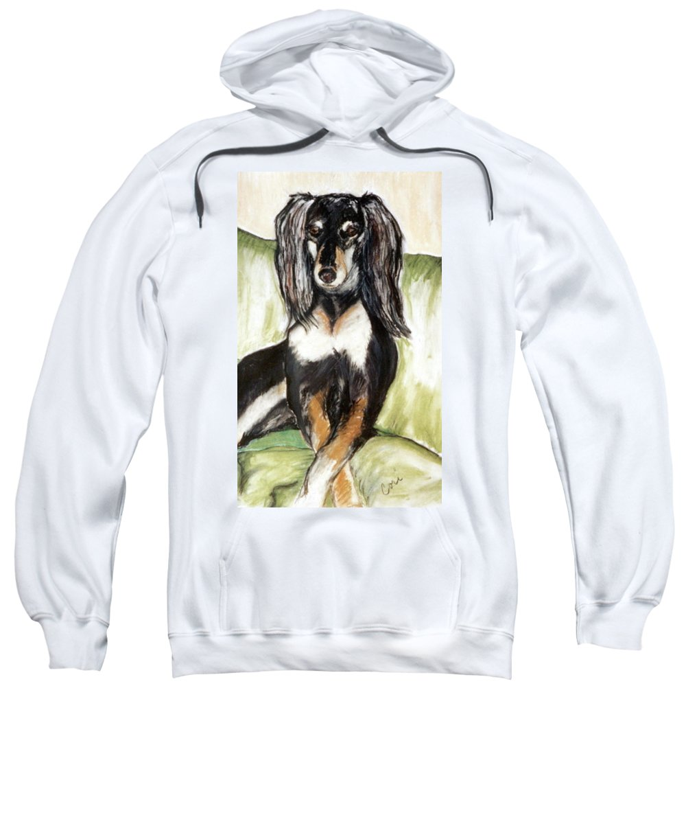 Dog Sweatshirt featuring the drawing Proud Girl by Cori Solomon