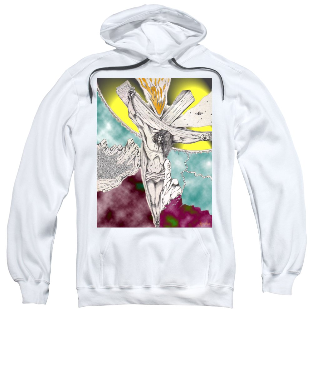 Spiritual Sweatshirt featuring the digital art Psalm 22 Ch 13-15... by Marco Morales