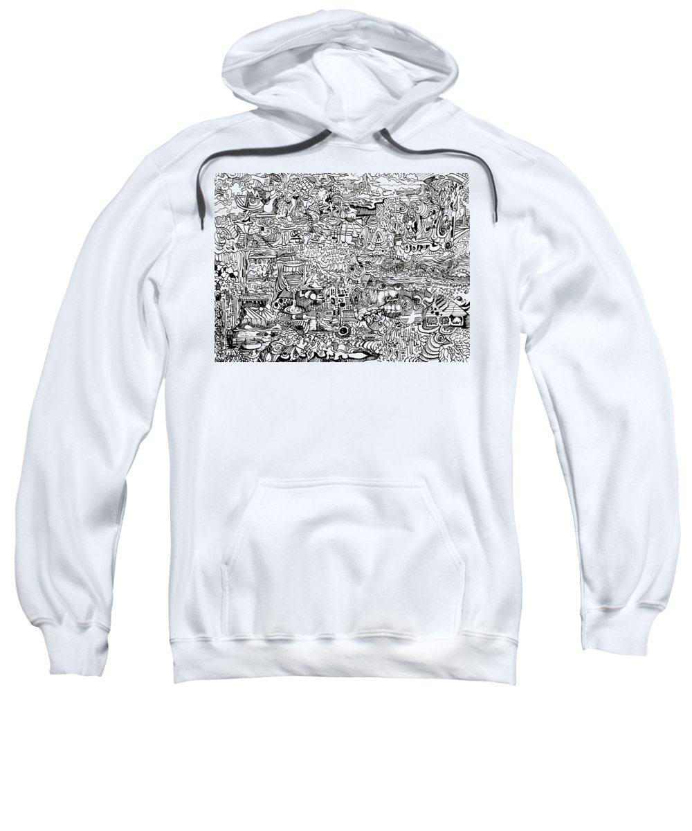 Psychedelic Ink Sweatshirt featuring the drawing Psychedelic Drawing Ink by Joe Michelli