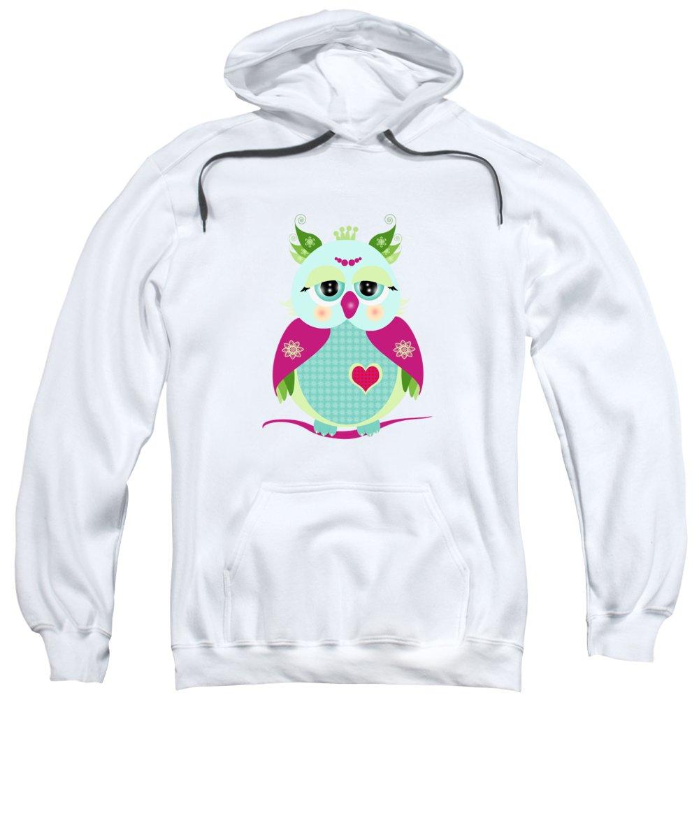 Bird Sweatshirt featuring the digital art Purple Owl by Isabel Salvador