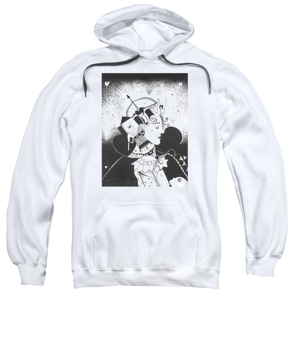 Dark Humor Sweatshirt featuring the drawing Queen Of Hearts Aka If She Only Had A Heart by Helena Tiainen