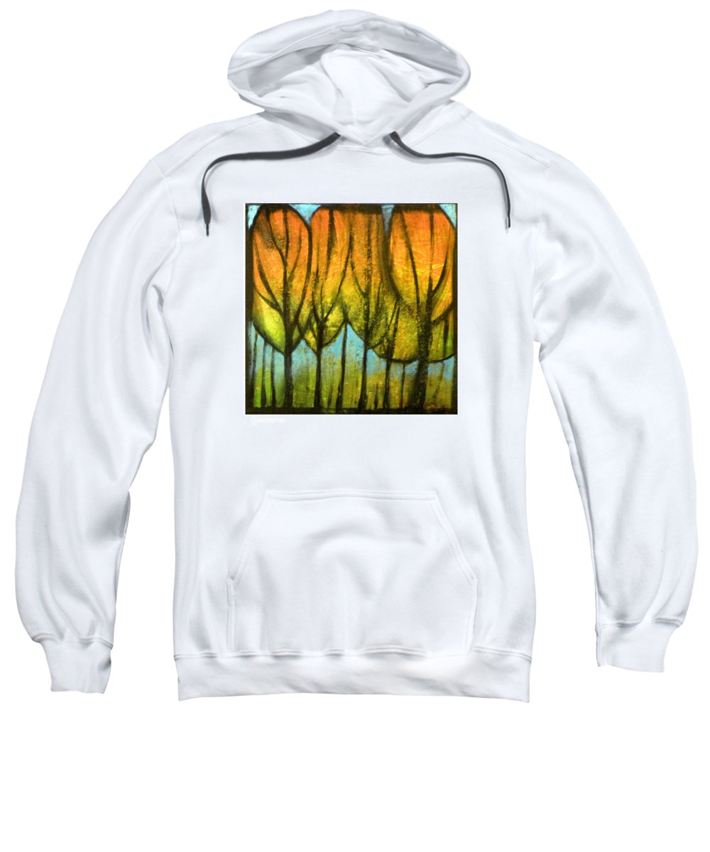Trees Sweatshirt featuring the painting Quiet Blaze by Tim Nyberg