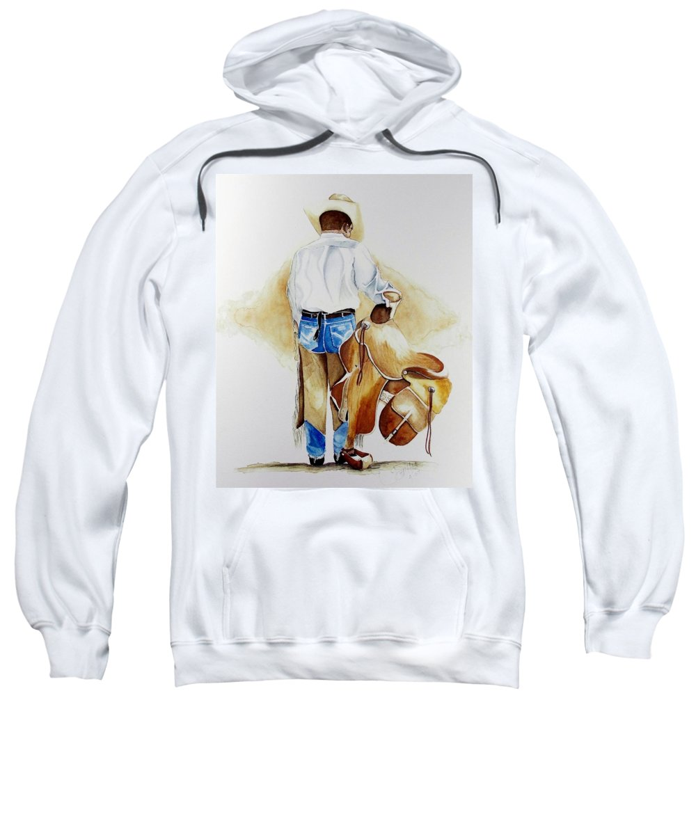Boots Sweatshirt featuring the painting Quittin Time by Jimmy Smith