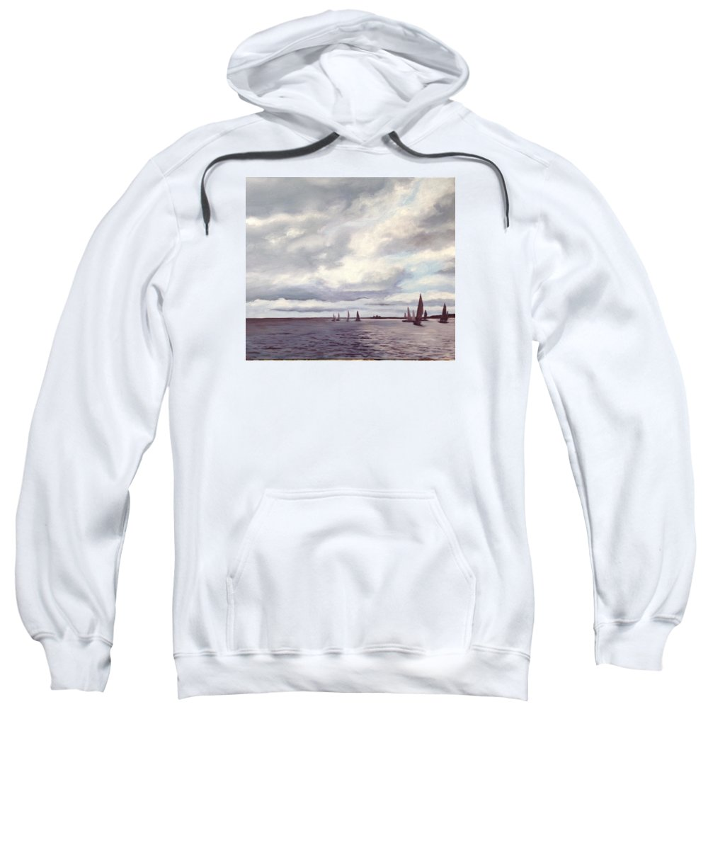 Sailing. Georgian Bay. Clouds. Sweatshirt featuring the painting Race Day by Liz Lasky