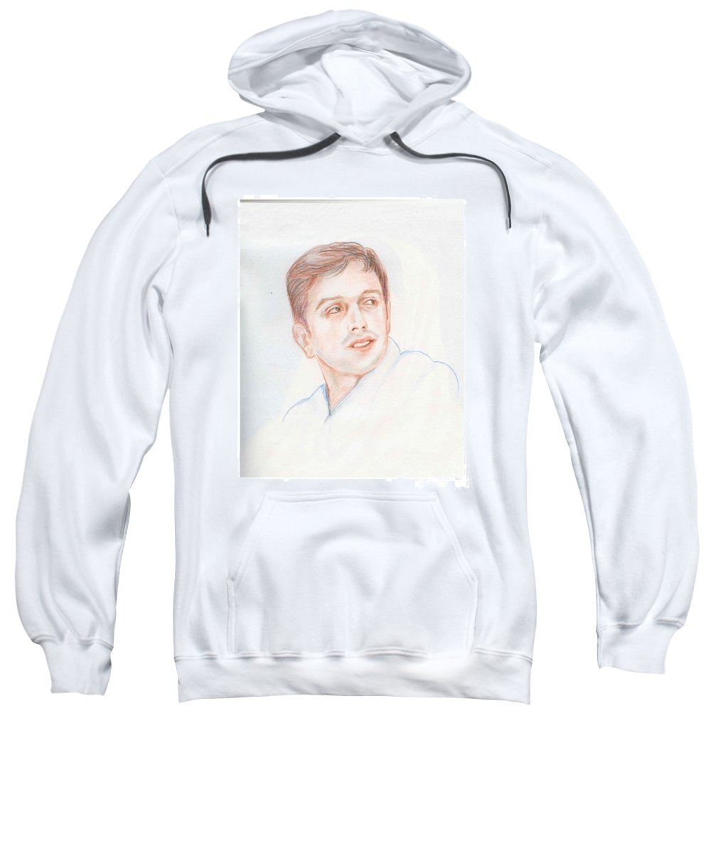 Cricketer Sweatshirt featuring the drawing Rahul Dravid Indian Cricketer by Asha Sudhaker Shenoy