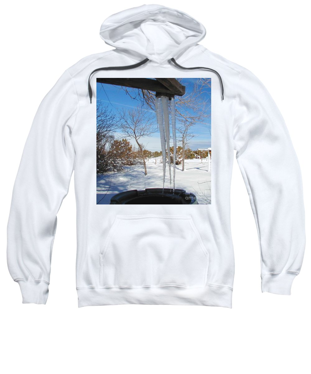 Icicle Sweatshirt featuring the photograph Rain Barrel Icicle by Diana Dearen