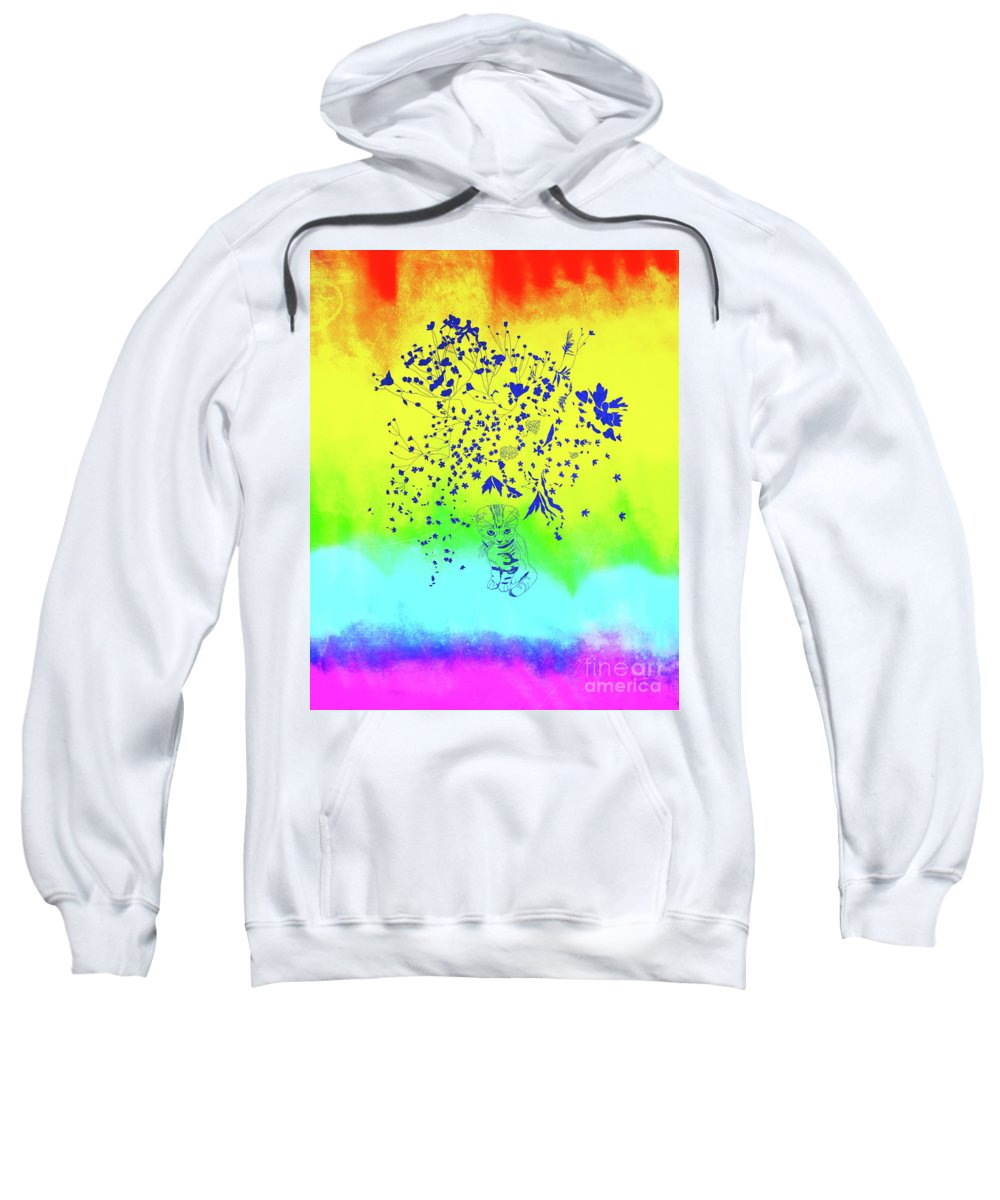Blue Sweatshirt featuring the mixed media Rainbow Flowers by Nat Air Craft