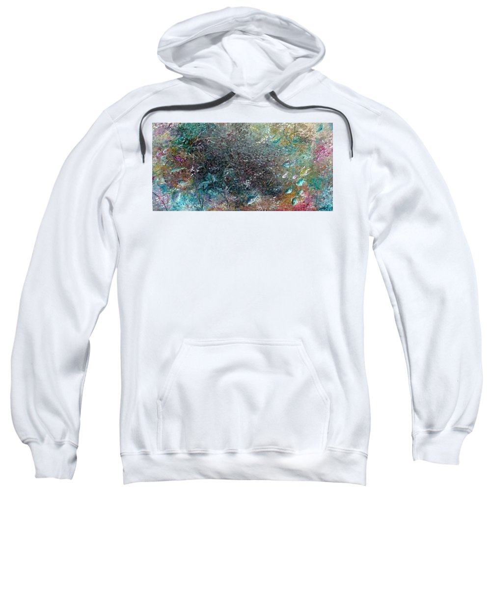 Original Abstract Painting Of Under The Sea Sweatshirt featuring the painting Rainbow Reef by Karin Dawn Kelshall- Best